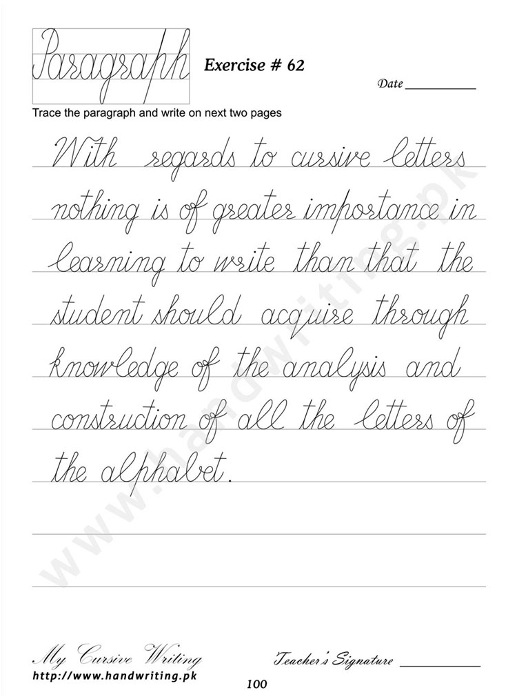 Cursive writing book | Research paper Sample - July 2019 - 1793 words